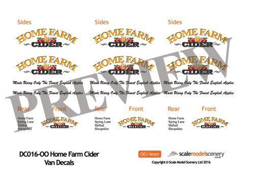 DC016-OO Home Farm Cider Decals OO/4mm/1:76
